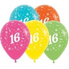 16th Birthday Tropical Multi Coloured  Latex Balloons