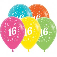 Teardrop Tropical Multi Coloured 16th Birthday Latex Balloons 30cm Pack of 25