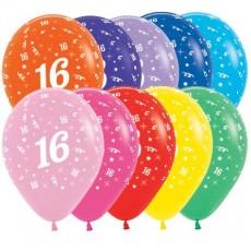 16th Birthday Fashion Multi Coloured  Latex Balloons
