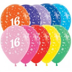 Teardrop Fashion Multi Coloured 16th Birthday Latex Balloons 30cm Pack of 25