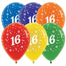 Teardrop Crystal Multi Colour 16th Birthday Latex Balloons 30cm Pack of 25