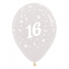 Teardrop Crystal Clear 16th Birthday Latex Balloons 30cm Pack of 25