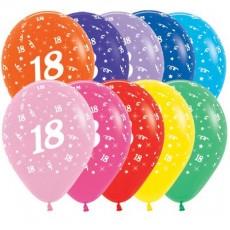 Teardrop Fashion Multi Coloured 18th Birthday Latex Balloons 30cm Pack of 25