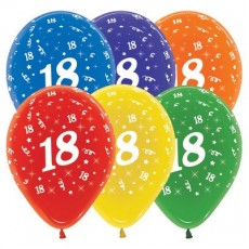 18th Birthday Crystal Multi Coloured  Latex Balloons