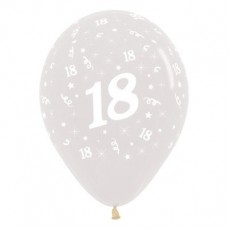 Teardrop Crystal Clear 18th Birthday Latex Balloons 30cm Pack of 25