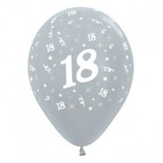 18th Birthday Metallic Pearl Silver  Latex Balloons