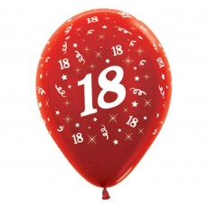 18th Birthday Metallic Red  Latex Balloons