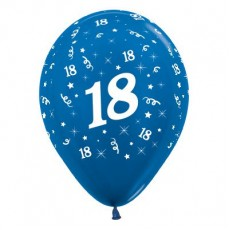 18th Birthday Metallic Pearl Blue  Latex Balloons
