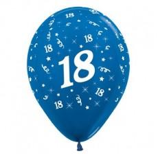 Teardrop Metallic Blue 18th Birthday Latex Balloons 30cm Pack of 25