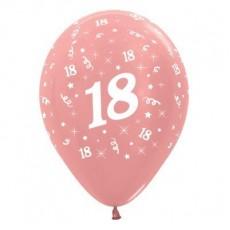 18th Birthday Metallic Pearl Rose Gold  Latex Balloons