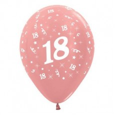 18th Birthday Metallic Rose Gold  Latex Balloons