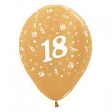 18th Birthday Metallic Gold  Latex Balloons