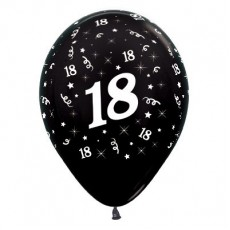 18th Birthday Metallic Black  Latex Balloons