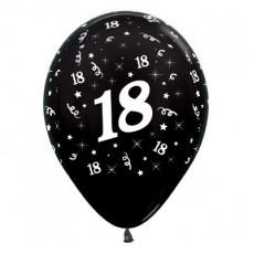 18th Birthday Metallic Pearl Black  Latex Balloons