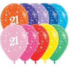 Teardrop Fashion Multi Coloured 21st Birthday Latex Balloons 30cm Pack of 25