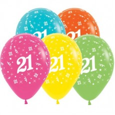 21st Birthday Tropical Multi Coloured  Latex Balloons