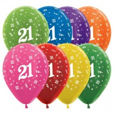 21st Birthday Metallic Multi Coloured  Latex Balloons