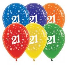 Teardrop Crystal Multi Coloured 21st Birthday Latex Balloons 30cm Pack of 25