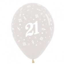 Teardrop Crystal Clear 21st Birthday Latex Balloons 30cm Pack of 25