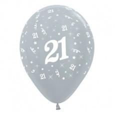 Teardrop Satin Pearl Silver 21st Birthday Latex Balloons 30cm Pack of 25