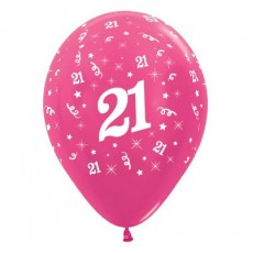 21st Birthday Metallic Pearl Fuchsia  Latex Balloons