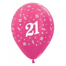 Teardrop Metallic Fuchsia 21st Birthday Latex Balloons 30cm Pack of 25
