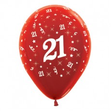 21st Birthday Metallic Pearl Red  Latex Balloons