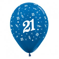 21st Birthday Metallic Blue  Latex Balloons