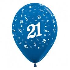 Teardrop Metallic Blue 21st Birthday Latex Balloons 30cm Pack of 25