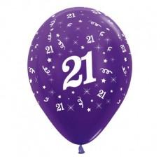 21st Birthday Metallic Pearl Purple Violet  Latex Balloons