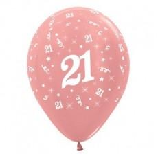 21st Birthday Metallic Pearl Rose Gold  Latex Balloons