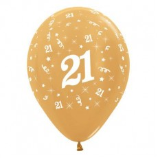 Teardrop Metallic Gold 21st Birthday Latex Balloons 30cm Pack of 25