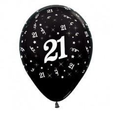 21st Birthday Metallic Pearl Black  Latex Balloons