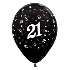 Teardrop Metallic Black 21st Birthday Latex Balloons 30cm Pack of 25