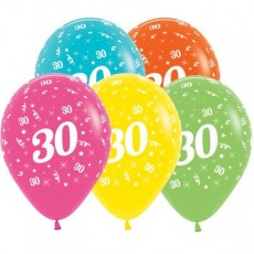 30th Birthday Tropical Multi Coloured  Latex Balloons