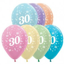 30th Birthday Pearl Satin Multi Coloured  Latex Balloons