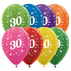 30th Birthday Metallic Multi Coloured  Latex Balloons