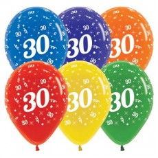 30th Birthday Crystal Multi Coloured  Latex Balloons
