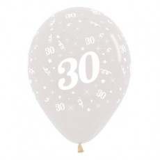 30th Birthday Crystal Clear  Latex Balloons