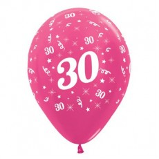 30th Birthday Metallic Pearl Fuchsia  Latex Balloons