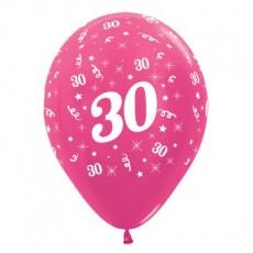 Teardrop Metallic Fuchsia 30th Birthday Latex Balloons 30cm Pack of 25