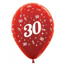 30th Birthday Metallic Red  Latex Balloons