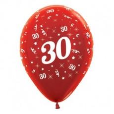 Teardrop Metallic Red 30th Birthday Latex Balloons 30cm Pack of 25
