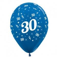 Teardrop Metallic Blue 30th Birthday Latex Balloons 30cm Pack of 25