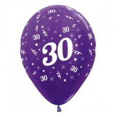 30th Birthday Metallic Purple Violet  Latex Balloons