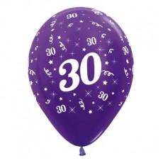 Teardrop Metallic Purple Violet 30th Birthday Latex Balloons 30cm Pack of 25