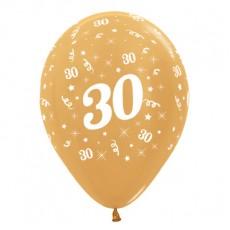 Teardrop Metallic Gold 30th Birthday Latex Balloons 30cm Pack of 25