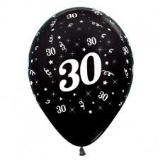 Teardrop Metallic Black 30th Birthday Latex Balloons 30cm Pack of 25