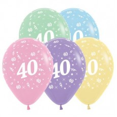 40th Birthday Pastel Multi Coloured  Latex Balloons