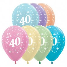 40th Birthday Satin Pearl Multi Coloured  Latex Balloons